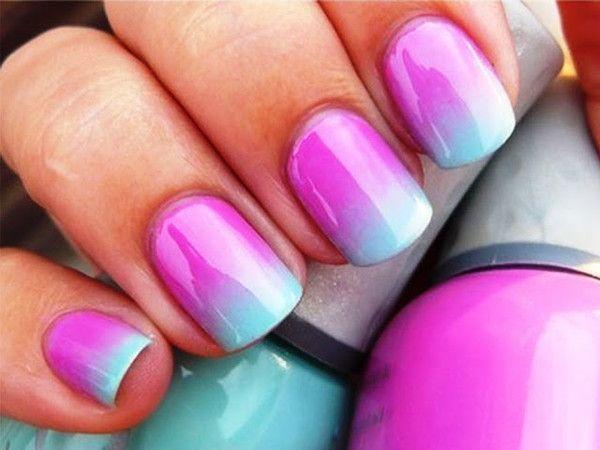 Nail art d grad mauve bleu for Cool and easy nail designs to do at home